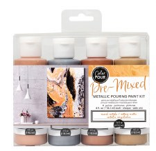Color Pour Pre-Mixed Metallic Pouring Paint Kit- Mixed Metals