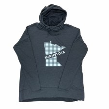 Minnesota Plaid Grey Hoodie- Large