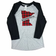 Minnesota State Plaid Raglan- Large
