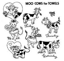 Aunt Martha's Iron On Transfers- Moo Cows #3844