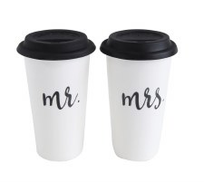 Stoneware Travel Mugs- Mr & Mrs