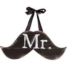Hanging Wedding Sign- Mr. Mustache