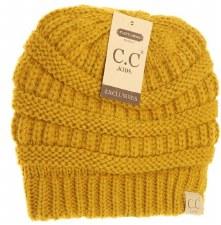 Kid's CC Knit Fuzzy Lined Beanie- Mustard