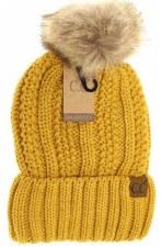 Kid's CC Knit Cuffed Beanie w/ Fur Pom- Mustard