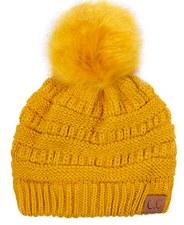 CC Knit Beanie w/ Pom- Mustard