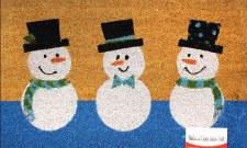 """Natural Fiber Door Mat, 18""""x30""""- Snowmen Trio"""