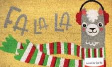 """Natural Fiber Door Mat, 18""""x30""""- Fa La La Llama"""