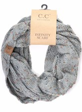 CC Knit Infinity Scarf- Confetti Natural Grey