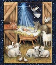 Christmas & Winter Fabric Panel- Nativity Barn