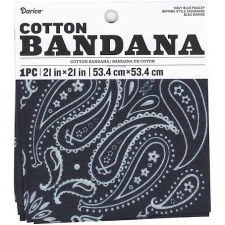 "Cotton Bandana 21""x21""- Paisley Navy"