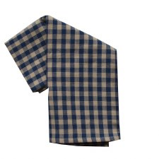 "Small Check 20""x28"" Tea Towel- Navy"