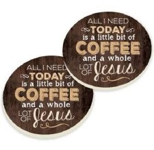 Car Coasters, 2pk- Coffee & Jesus