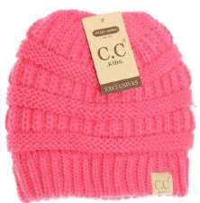 Kid's CC Knit Fuzzy Lined Beanie- New Candy Pink