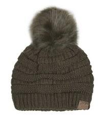 CC Knit Beanie w/ Pom- Olive