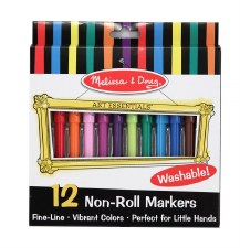Melissa & Doug Non-Roll Markers- 12 count
