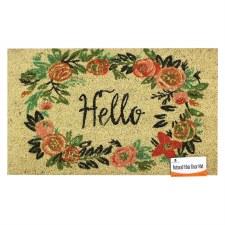 Natural Fiber Door Mat- Hello Fall Floral
