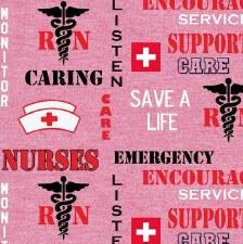 Nurse Bolted Fabric- Heather All Over Logo