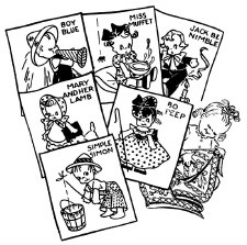 Aunt Martha's Iron On Transfers- Nursery Rhymes Crib Set #646