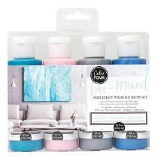 Color Pour Pre-Mixed Iridescent Pouring Paint Kit- Opal Flux
