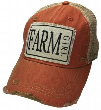 Women's Trucker Baseball Cap- Farm Girl, Orange