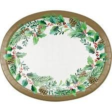 Golden Holly Oval Plates - 8ct.