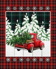 Christmas & Winter Fabric Panel- Over the River Truck