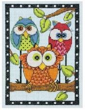 "Dimensions Cross Stitch Kit, 7""x5""- Owl Trio"