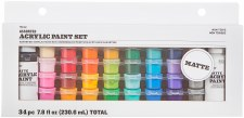 Acrylic Paint Pot Set, 34pc- Matte