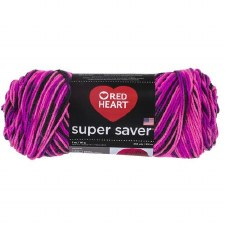 Red Heart Super Saver Yarn, Mulit-Color- Panther Pink