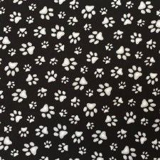 Cat & Dog Bolted Fabric- White Prints on Black