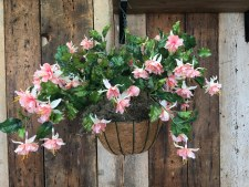 Spring Floral Hanging Basket- Fuchsia, Peach