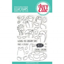Avery Elle Peek a Boo Summer Pals Clear Stamps