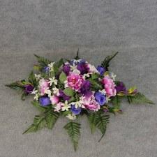 Pre-Made Memorial Saddle Arrangement- Purple/Blue