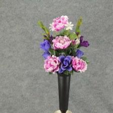 Pre-Made Memorial Cone Arrangement- Purple: Peony & Roses