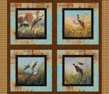 Nature & Wildlife Fabric Panel- Pheasant Birds Pillow
