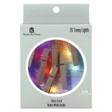 20ct Teeny Photoclips Lights Set- Wood w/ Rainbow Lights
