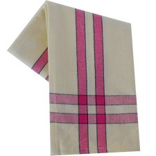 "Two Striped Cream 20""x28"" Tea Towel- Pink with Black"