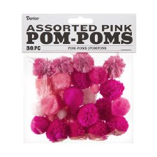 Assorted Pom-Poms- Pink