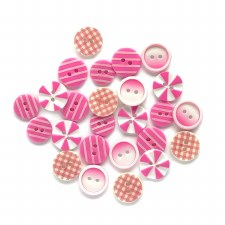 Button Fusion Buttons- Pink Patchwork