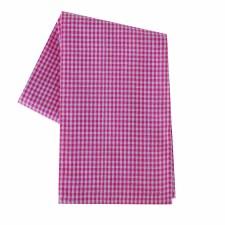 "Mini Check 20""x28"" Tea Towel- White & Pink"