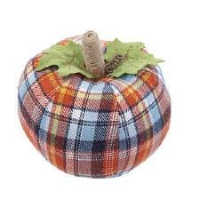 "7.5"" Harvest Plaid Fabric Pumpkin"