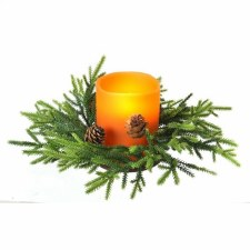 "11"" Mini Fir & Pinecone Candle Ring"