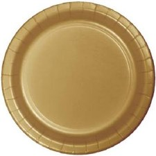 """Touch of Color 7"""" Paper Plate, 24ct- Glittering Gold"""