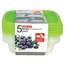Never Lost Reusable Containers & Lids, 3.75 cup