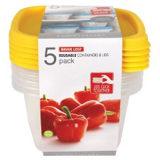 Never Lost Reusable Containers & Lids, 5 cup