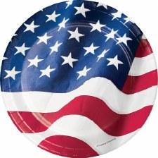 """Patriotic Flag Paper Plates, 7""""- 8ct"""