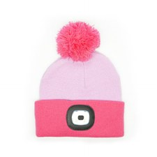 Night Owl Kid's Rechargeable LED Beanie - Pink