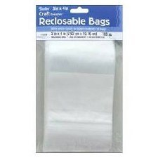 "Reclosable Poly Bags, 3""x4""- 100ct"