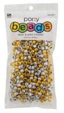 Nicole Pony Beads, 600ct- Metallic Assortment, Silver & Gold