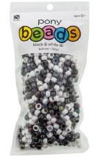 Nicole Pony Beads, 750ct- Opaque Assortment, Black & White